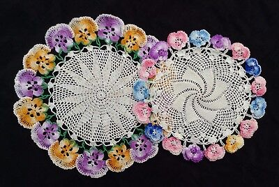 """2 sweet vintage crocheted doilies w colored flowers 10"""" + 8"""" excellent condition"""