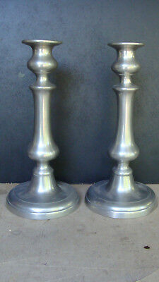 "Pr 19th push up pewter candlesticks, 10 1/8"" tall *"