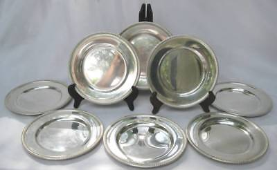 8 Fisher Sterling Silver Bread & Butter Side Plates Gadroon Rims 626 Grm No Mono