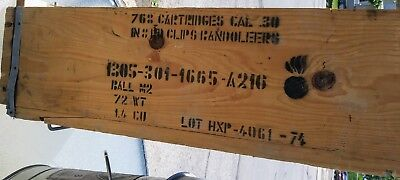 768 Cartridges Cal 30 Ball M2 Clips Bandoleers Wooden Ammo Box Empty Wood Crate