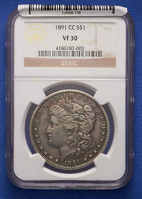 1891-CC Morgan Silver Dollar NGC VF 30 no reserve.