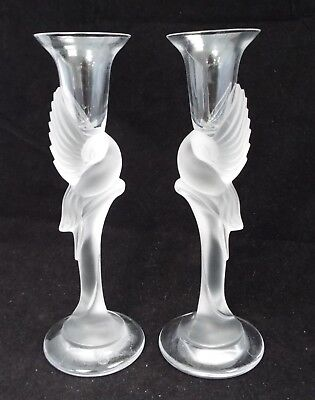 Pair Of SNOW DOVE Igor Carl Faberge Frosted Glass Candlesticks 23 cm Tall - D39