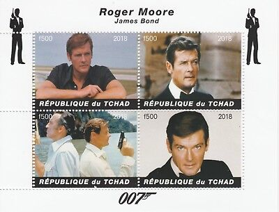 Chad 7574 - 2018  James Bond - Moore perf sheet of 4 values unmounted mint