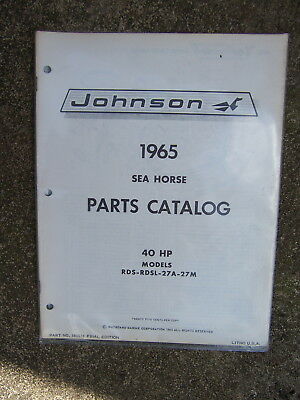 1965 JOHNSON SEA Horse 40 HP RD RDL 27A 27M Outboard Motor ... on