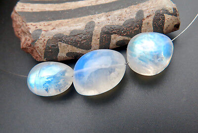 3PC EXOTIC VERY STUNNING AAAAA GLOWING BLUE MOONSTONE BEADS 6.8-11.1mm 22.80cts