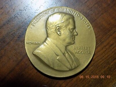 1929 HERBERT HOOVER PRESIDENT OF THE UNITED STATES / INAUGURATED - 76mm Bronze