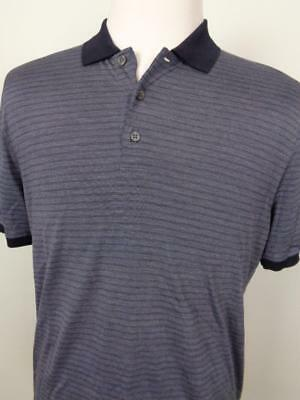 5030268614 Canali Silk Cotton Blend Striped Polo Shirt Mens sz 52 Blue Made in Italy
