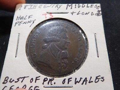 T3 Great Britain Middlesex & London 18th C. Prince of Wales Conder 1/2 Penny
