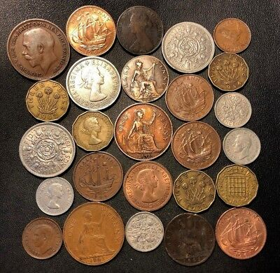 Vintage Great Britain Coin Lot - 1861-1967 - 25 Great Coins - Lot #619