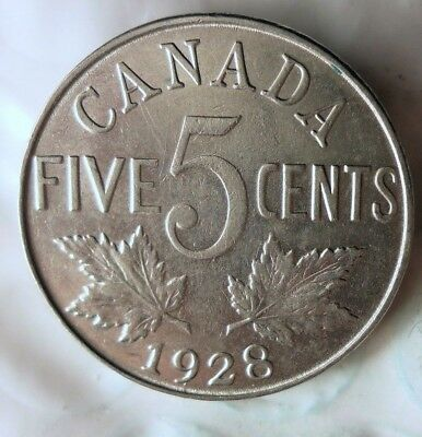 1928 CANADA 5 CENTS - AU - Strong Value Coin - Lot #619