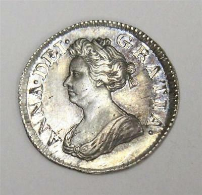 1703 silver Maundy 3d three pence coin S3596 Queen Anne AU50+