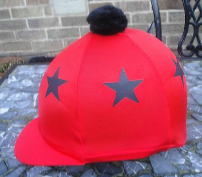 Lycra Riding Hat Silk Skull cap Cover RED * BLACK STARS * With OR w/o Pompom