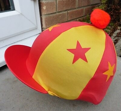 Lycra Riding Hat Silk Skull cap Cover RED & YELLOW * STARS With OR w/o Pompom
