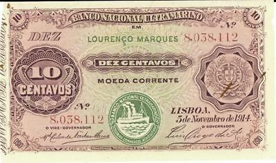 Mozambique 10 Centavos Currency Banknote w. Tab 1914 CU