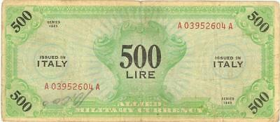 """Italy 500 Lire AMC Currency Banknote 1943 w/o """"F"""