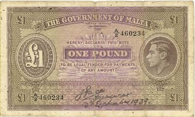 Malta 1 Pound Currency Banknote 1939