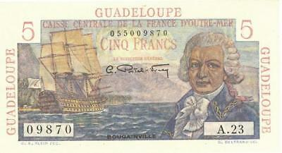 Guadeloupe 5 Francs Currency Banknote 1947 CU