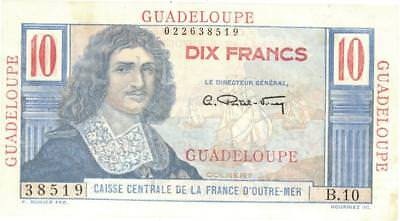 Guadeloupe 10 Francs Currency Banknote 1947 AU