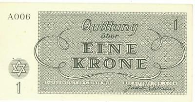 Czech Theresienstadt Concentration Camp 1 Krone Banknote 1943 CU