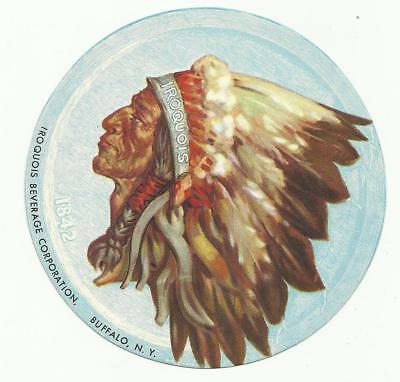 "1940's Iroquois Beer  Coaster Buffalo, NY 4"" Indian Head full color ""Paper"" #001"