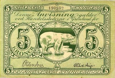 Greenland 5 Kronur Currency Banknote 1953