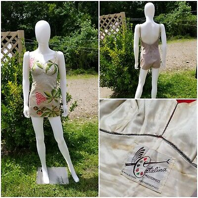 Vintage 1940 swimsuit by DeWeese, Catalina masterpiece floral Rare size 38