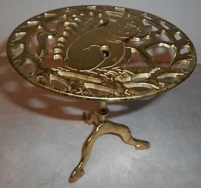 "Virginia Metalcrafters Brass Squirrel Trivet on 8-1/2"" Tall Stand #1104"