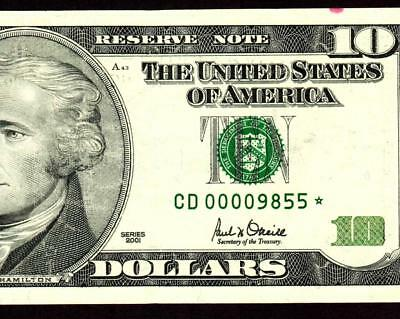 STAR ** $10 2001 :00009855: LOW FOUR DIGIT SERIAL NUMBER::Federal Reserve Note