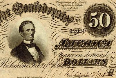 T66 1864 $50 Confederate Treasury Note ** MORE CURRENCY FOR SALE **