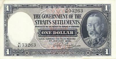 Straits Settlements $1 Dollar Currency Banknote 1935