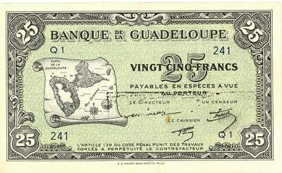 Guadeloupe 25 Francs Currency Banknote 1942  XF/AU
