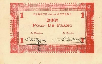 French Guiana 2 Francs WWII Emergency Banknote 1942