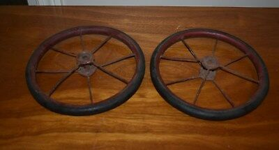 Vintage Pair Of Spokeed Metal Carriage Stroller Wheels - Red Painted - 8""