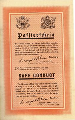 U.S. Military WWII Germany Safe Conduct Pass 1945