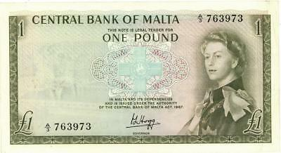 Malta 1 Pound Currency Banknote 1967  VF/XF