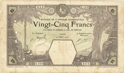 """French West Africa """"Dakar"""" 25 Francs Currency Banknote 1925"""