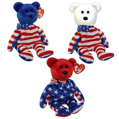 TY Beanie Babies - LIBERTY BEARS (Set of all 3 - Red, White & Blue heads) MWMTs