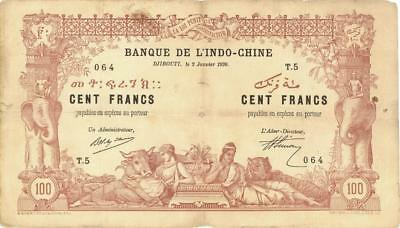French Somaliland 100 Francs Currency Banknote 1920