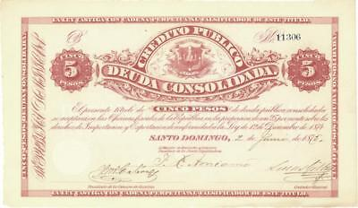 Dominican Republic 5 Pesos Currency Banknote 1875  AU/UNC