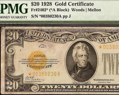 STAR 1928 $20 DOLLAR BILL GOLD CERTIFICATE COIN NOTE PAPER MONEY Fr 2402* PMG VF