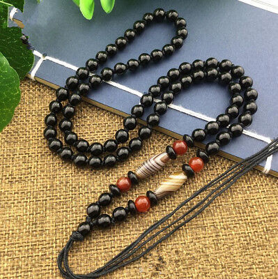 2018 Natural JADE Black Obsidian Beads agate Style Beaded Rope Necklace