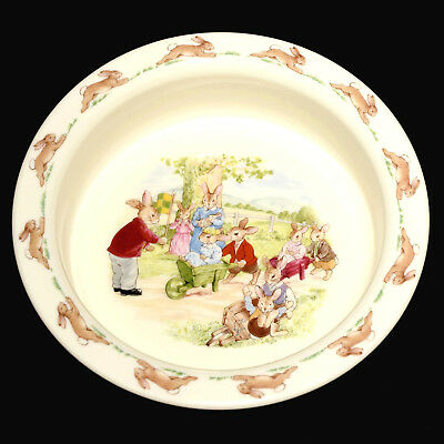 * Royal Doulton Bunnykins Bone China Porridge Bowl Wheelbarrow Racing.