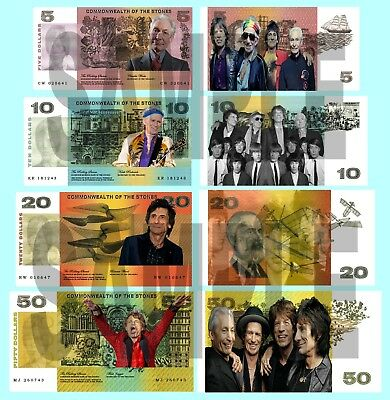 Set Of 4 Rolling Stones Double Sided Fun Australian Style Notes