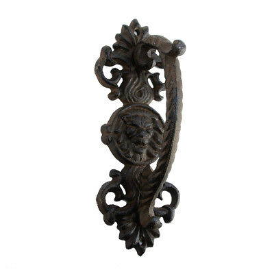 Ornate Cast Iron Lion Head Gate Handle Pull Grip Rustic Medieval Door Hardware