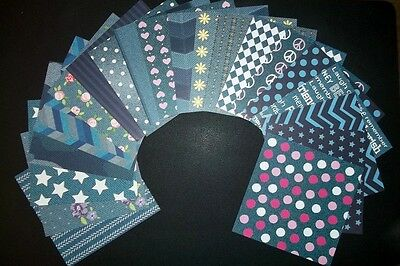 "Colourful *DENIM* Papers x 20- 15cm x 15cm (6 x 6"") Scrapbooking/Cardmaking"