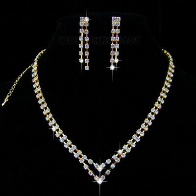 Heart shape Wedding  Party  Crystal Necklace Earring  gold  plated  Jewelry N187