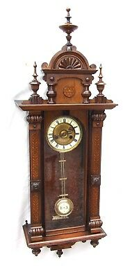 Exquisite Antique Painted & Carved Walnut Vienna Style Wall Clock