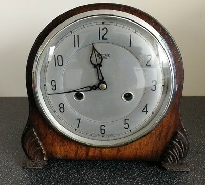 Old Wooden Cased Smiths Enfield Chiming Mantel Clock