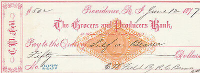 1877  The Grocers And Producers Bank, Providence Rhode Island     W/revenue