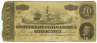 Confederate States Of America 1864 $20 Note From Richmond  Signed Note  Nice!